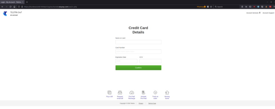 Screenshot of Telstra spoofing scam 'credit card details' page