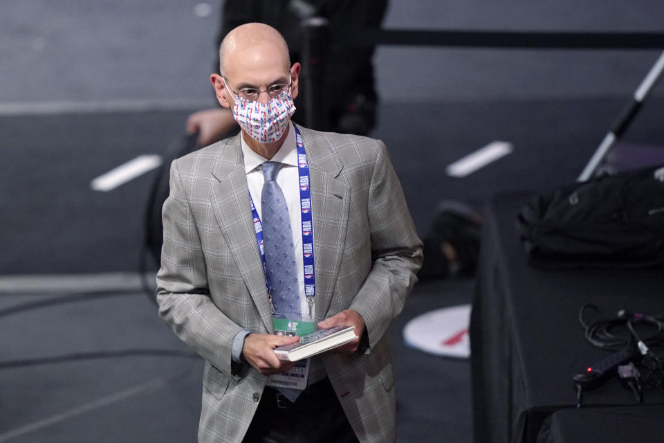 NBA Commissioner Adam Silver attends Game 2 of basketball's NBA Finals between the Los Angeles Lakers and the Miami Heat on Friday, Oct. 2, 2020, in Lake Buena Vista, Fla. (AP Photo/Mark J. Terrill)
