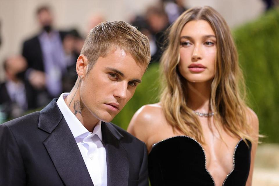 A close up of Justin and Hailey Bieber