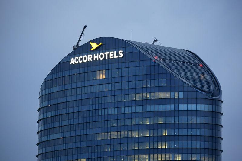 FILE PHOTO - The logo of French hotel operator AccorHotels is seen on top of the company's headquarters in Issy-les-Moulineaux near Paris