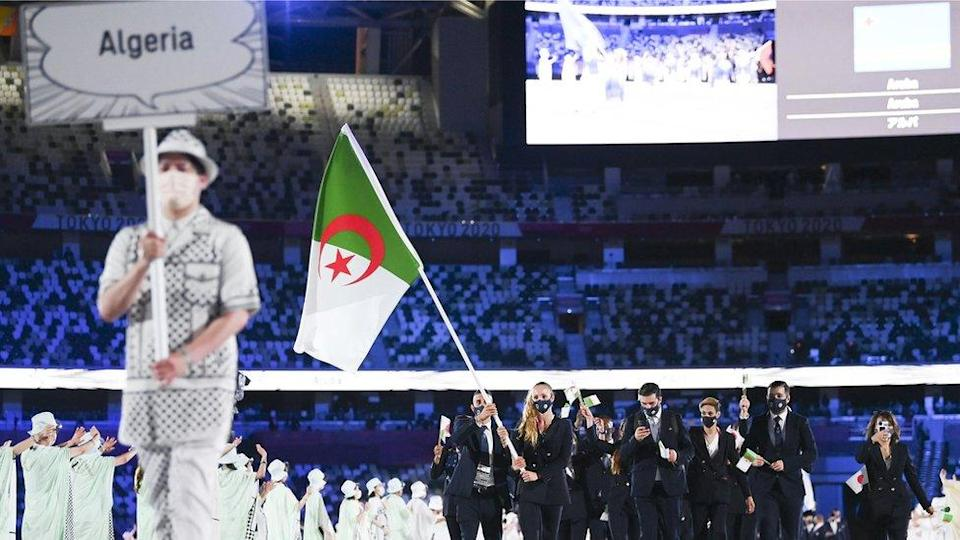 The Algerian delegation at the opening ceremony of Tokyo 2020