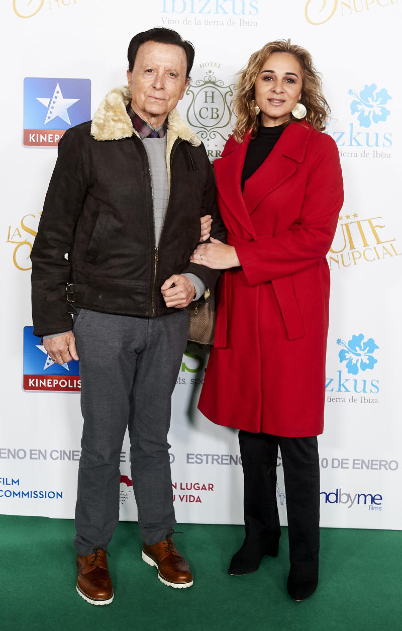 MADRID, SPAIN - JANUARY 09: Jose Ortega Cano and Ana Maria Aldon attends 'La suite nupcial' premiere at Kinepolis on January 09, 2020 in Madrid, Spain. (Photo by Borja B. Hojas/Getty Images)