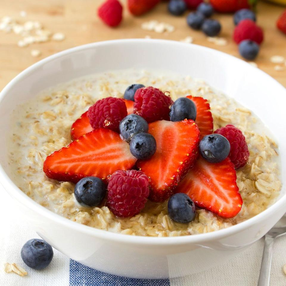 """<p>""""When I'm stressed, I try to reach for foods I know will help me fight stress despite the temptation to reach for unhealthy ones that give the sweet-salty tooth a quick hit. Steel-cut oatmeal is super comforting and a good source of complex carbs that increases the production of serotonin, a mood-boosting brain chemical."""" <em> - <a rel=""""nofollow"""" href=""""https://nutritiouslife.com/stress-less/stress-fighting-foods/"""">Keri Glassman, R.D.</a></em></p>"""