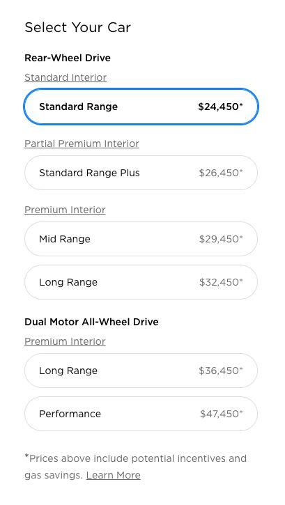 Model 3 list prices posted on Tesla's web site.