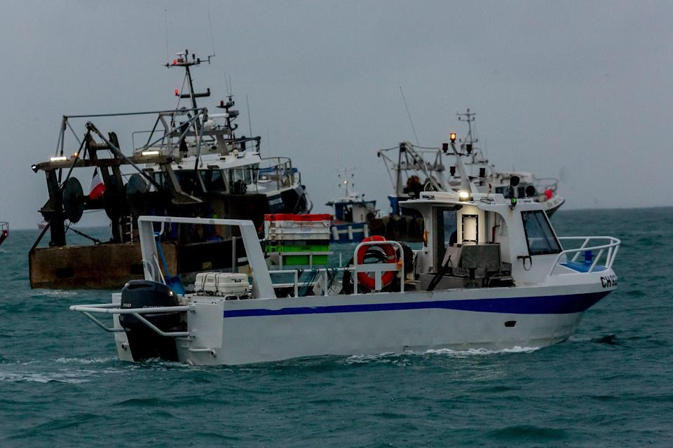 French fishing vessels outside the harbour at St Helier (PA Media)