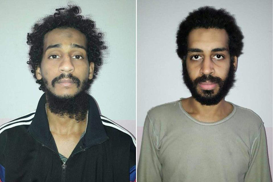 (FILES) This file photo combination of pictures created on February 11, 2018 from two handout images provided by the Syrian Democratic Forces (SDF) on February 10, 2018 shows captured British Islamic State (IS) group fighters El Shafee el-Sheikh (L) and Alexanda Kotey (R), posing for mugshots in an undisclosed location. - Two members of an Islamic State cell dubbed the