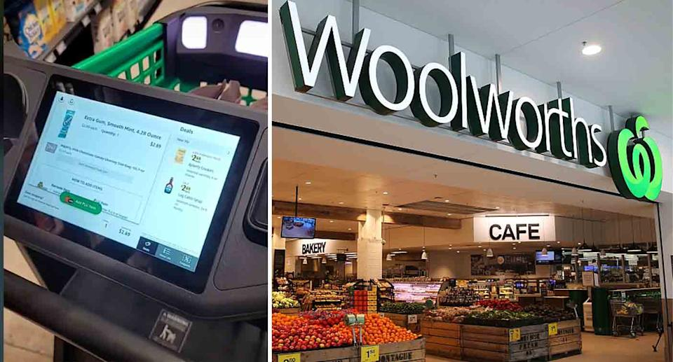 A shopper has asked Woolworths to consider trialling smart trolleys as seen in the US. Source: TikTok/Getty