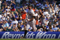 San Francisco Giants' Brandon Belt rounds the bases after hitting a two-run home run during the seventh inning of a baseball game against the Chicago Cubs in Chicago, Friday, Sept. 10, 2021. (AP Photo/Nam Y. Huh)