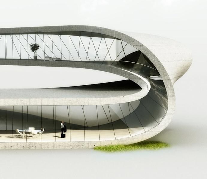 "A handout computer generated image shows a house designed by Dutch architecture practice Universe Architecture on January 14, 2013. A Dutch architect has designed a house ""with no beginning or end"" to be built using the world's largest 3D printer, harnessing technology that may one day be used to print houses on the moon"