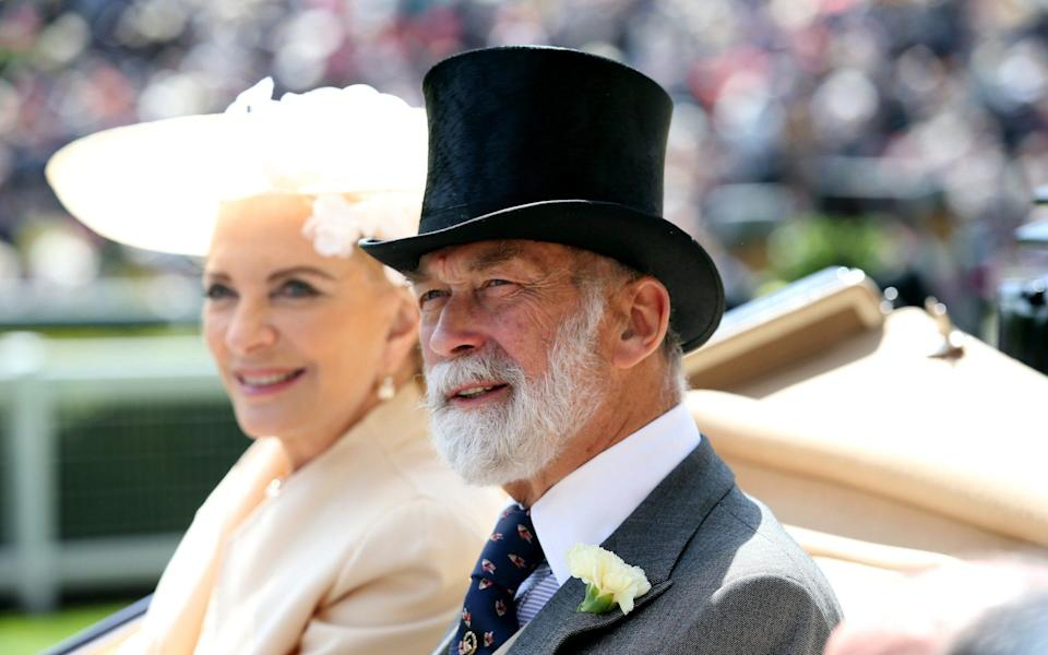 """Prince Michael of Kent, right, with his wife Princess Michael of Kent. He allegedly told undercover reporters he could make """"confidential"""" representations to Mr Putin's regime - Chris Jackson/Getty"""