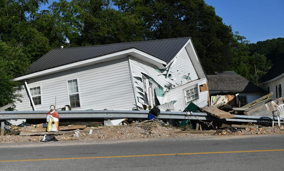 WAVERLY, USA - AUGUST 22: A view of the damage after heavy rain and devastating floods in Waverly, Tennessee, United States on August 22, 2021. At least 22 people were killed while search and rescue efforts continued Sunday for 45 missing after flash floods swept through the US state of Tennessee, according to local authorities. (Photo by Peter Zay/Anadolu Agency via Getty Images)