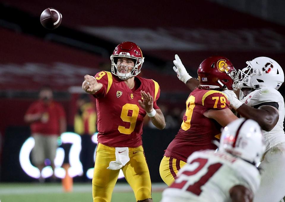 USC quarterback Kedon Slovis throws a pass during a loss to Stanford.