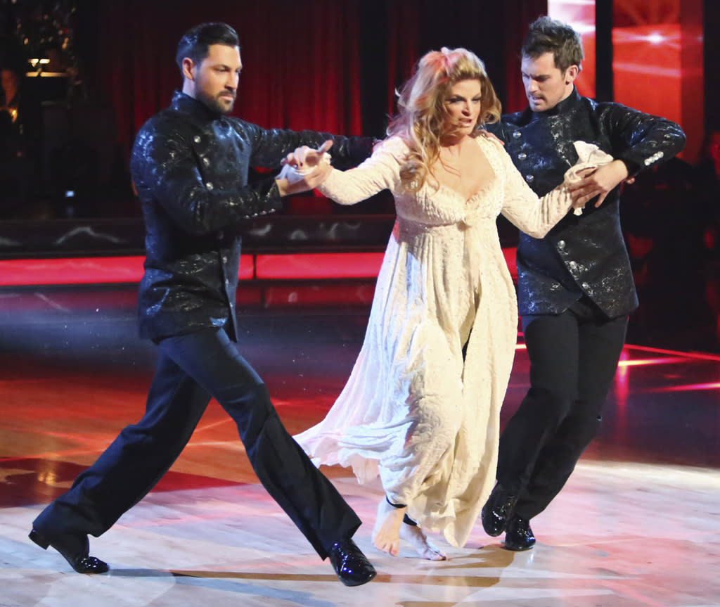 "Maksim Chmerkovskiy, Kirstie Alley and Tristan MacManus perform on ""Dancing With the Stars: All-Stars."""