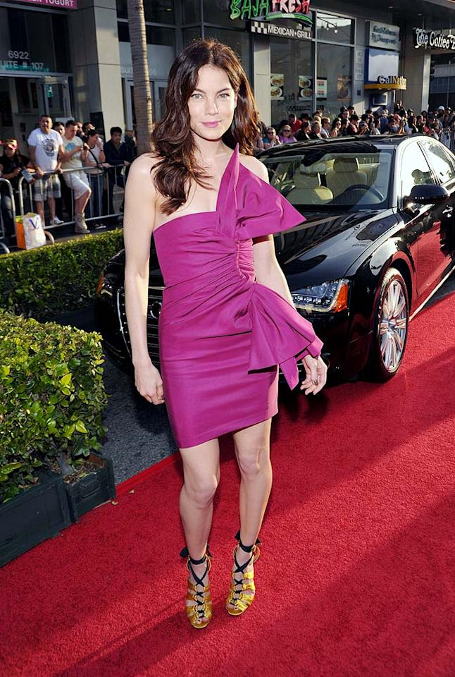 """Michelle Monaghan -- who doesn't appear in the film but looked almost as fabulous as its two female stars -- nearly stole the spotlight in a stunning $1,155 Derek Lam fuchsia bow knot bustier dress. John Shearer/<a href=""""http://www.wireimage.com"""" target=""""new"""">WireImage.com</a> - April 26, 2010"""