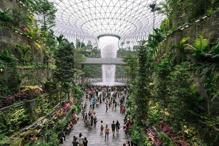 Singapore's Jewel Changi Airport boasts a giant indoor waterfall at its center.