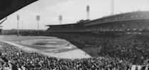 """<p><strong>August 6, 1909</strong>: Giants outfielder """"Red"""" John Murray makes one of the most spectacular catches in baseball history, as if it were written in a movie script. The Giants and Pirates are tied, 2-2, and the midafternoon sky at Forbes Field in Pittsburgh is pitch-black and filled with ominous storm clouds. Tommy Leach of the Bucs cracks the ball into the dark outfield, and as soon as the shadowy Murray leaps up to grab it with one hand, a flash of lightning illuminates the sky. """"It's the most famous catch in the early years of baseball and for good reason,"""" says John Thorn, official historian of Major League Baseball. """"You can't cue up lightning unless you're directing <em>The Natural</em>!""""<br> </p>"""