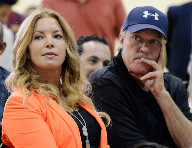 Jeanie Buss and Jim Buss, circa August 2012. (Getty Images)