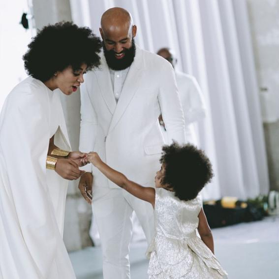 <p>The adorable tot dances with aunt Solange at the artist's wedding in 2014.</p>