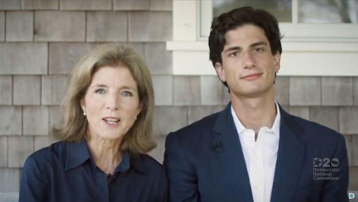<p>Caroline Kennedy and her son, Jack Schlossberg, speak at the 2020 Democratic National Convention. The event was held virtually due to the COVID-19 pandemic. </p>
