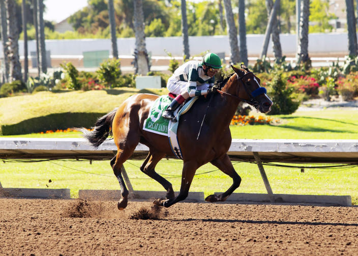 In this image provided by Benoit Photo, Gamine, with John Velazquez aboard, wins the Grade II, $200,000 Great Lady M Stakes horse race Monday, July 5, 2021, at Los Alamitos Race Course in Cypress, Calif. (Benoit Photo via AP)