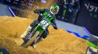 Before Daytona, Garrett Marchbanks tested his Supercross bike outdoors and in sand. Feld Entertainment Inc.