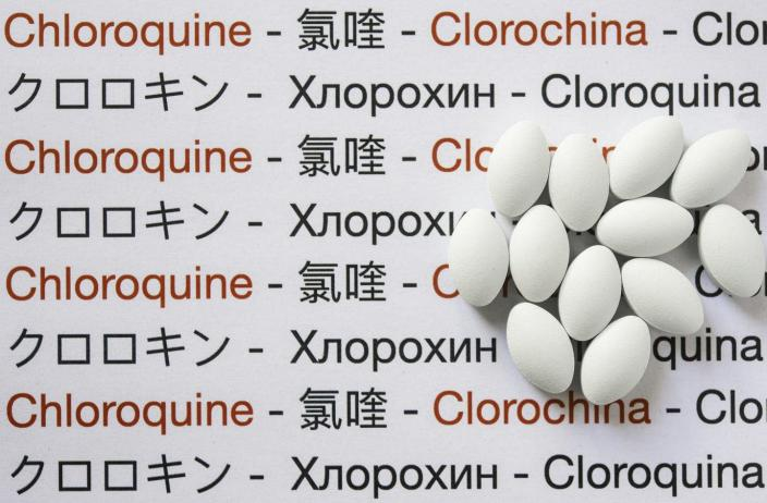 """<span class=""""caption"""">Chloroquine is an antimalarial drug originally developed in 1934; it doesn't block coronavirus infection in humans. </span> <span class=""""attribution""""><a class=""""link rapid-noclick-resp"""" href=""""https://www.gettyimages.com/detail/photo/chloroquine-medicine-pills-royalty-free-image/1215181871?adppopup=true"""" rel=""""nofollow noopener"""" target=""""_blank"""" data-ylk=""""slk:Brasil2 / Getty Images"""">Brasil2 / Getty Images</a></span>"""