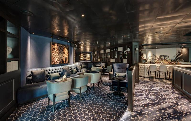 When the lights go down, that's when the real party begins. Enjoy a prosecco in the on-board club, The Blue Room. Source: Supplied