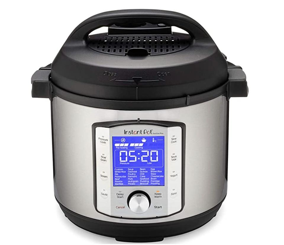 "The<a href=""https://amzn.to/3mfbmzd"" target=""_blank"" rel=""noopener noreferrer""> Instant Pot Duo Evo Plus Pressure Cooker 9-in-1 - 6 Qt</a> is large enough to serve up to six people and includes 48 programs. Normally $120, <a href=""https://amzn.to/3mfbmzd"" target=""_blank"" rel=""noopener noreferrer"">get it on sale for $70 on Amazon</a> right now."