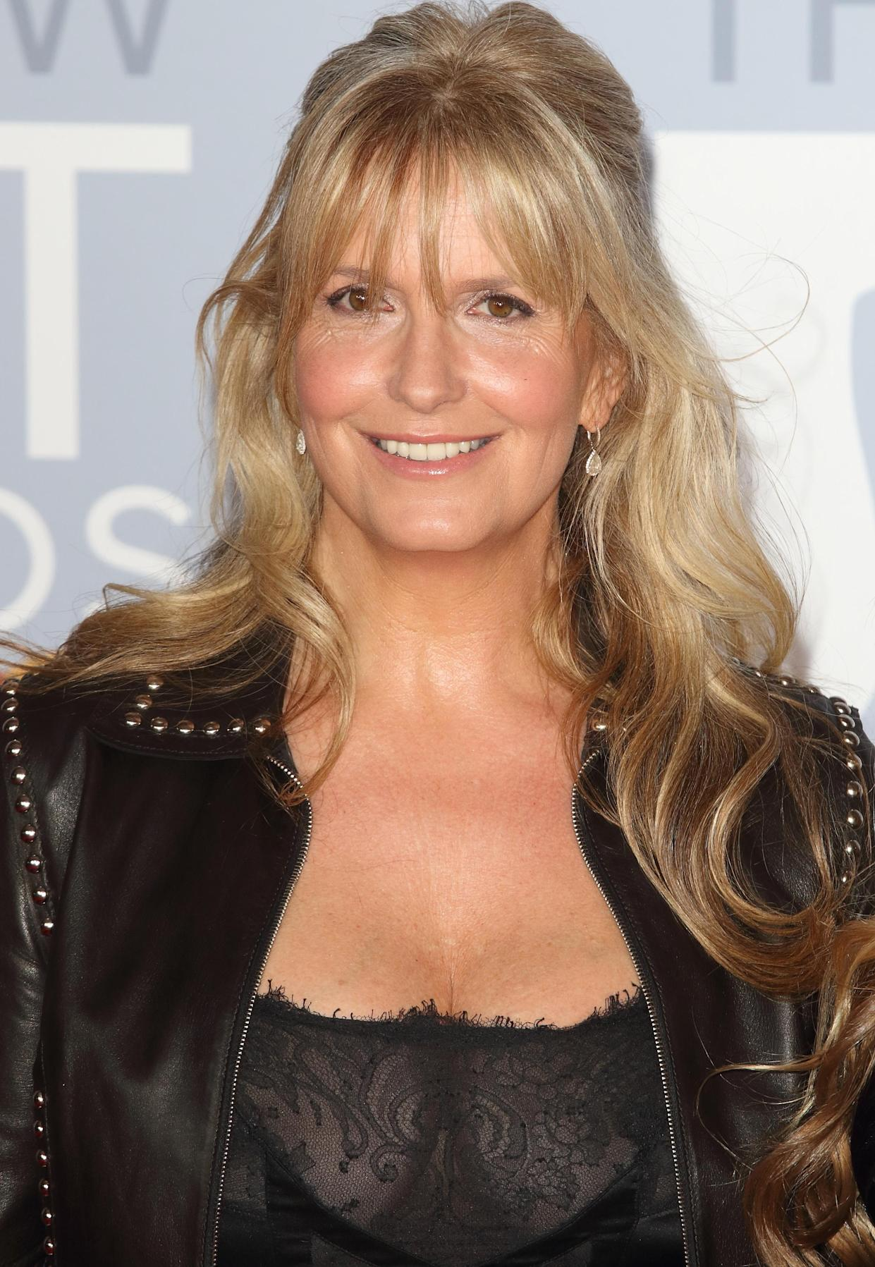 Penny Lancaster attends the 40th Brit Awards Red Carpet arrivals at The O2 Arena in London. (Photo by Keith Mayhew / SOPA Images/Sipa USA)