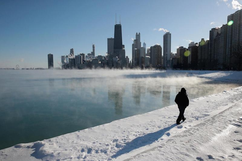 Cold front: Temperatures held at below -20C in Chicago, Illinois. The city's record low, -33C, was registered in 1985 - Getty Images North America
