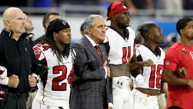 Although Atlanta Falcons players have been asked to stand for the anthem, owner Arthur Blank wants it to be of their own volition.