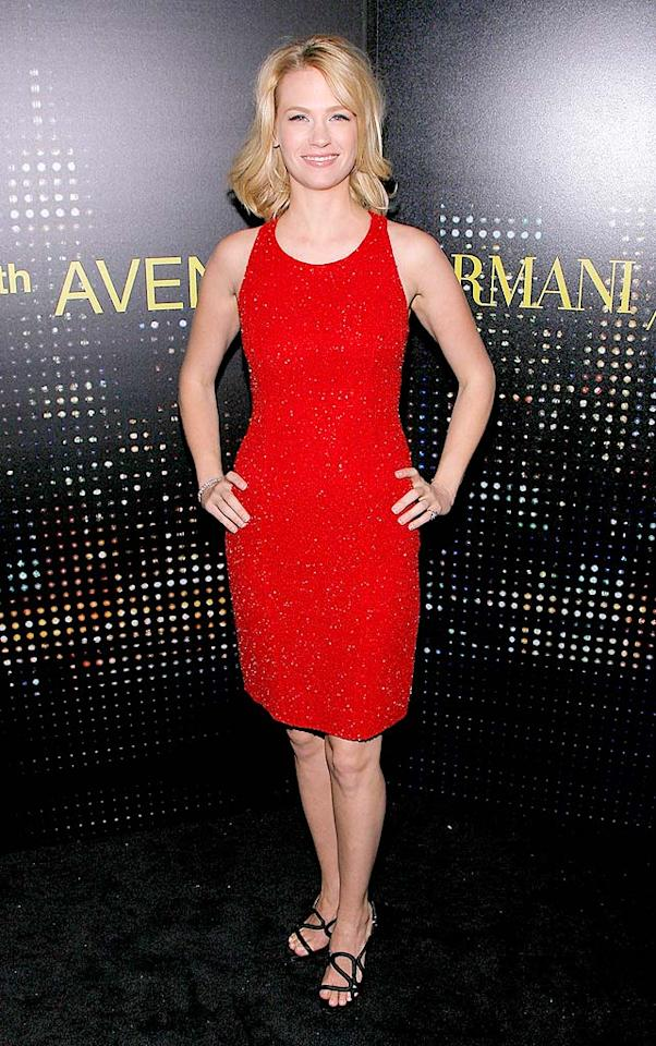 """""""Mad Men"""" star January Jones added a splash of color to the evening in a hip-hugging red dress. Jemal Countess/<a href=""""http://www.wireimage.com"""" target=""""new"""">WireImage.com</a> - February 17, 2009"""