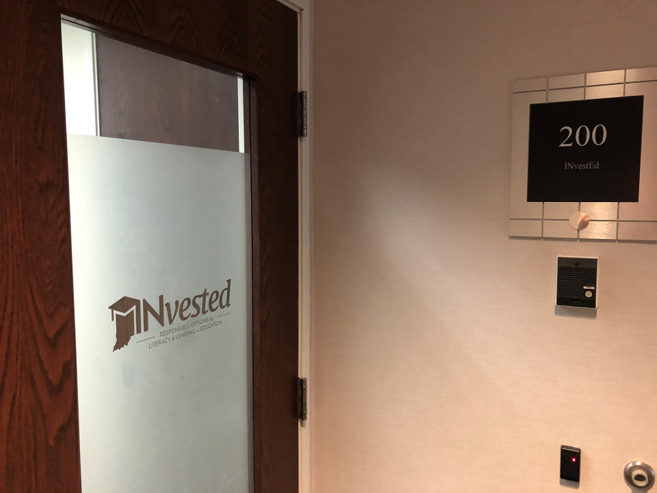 This June 1, 2021, photo shows the entrance to the INvestED offices in Carmel, Ind. The little-known Indiana state agency has been tapped to oversee a new program helping workers obtain short-term training certifications that received $75 million from the state's federal COVID-19 relief funding despite receiving little public discussion and few details on the money would be spent. (AP Photo/Tom Davies)