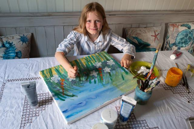 Meet the ten-year-old 'mini Monet' whose stunning floral landscape paintings can sell for up to £10,000