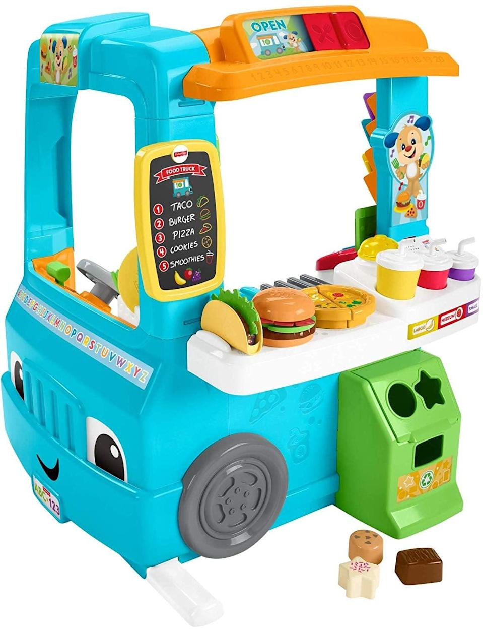<p>One twin can act as an employee and the other can be a customer while playing with this <span>Fisher-Price Laugh & Learn Servin' Up Fun Food Truck</span> ($60)!</p>