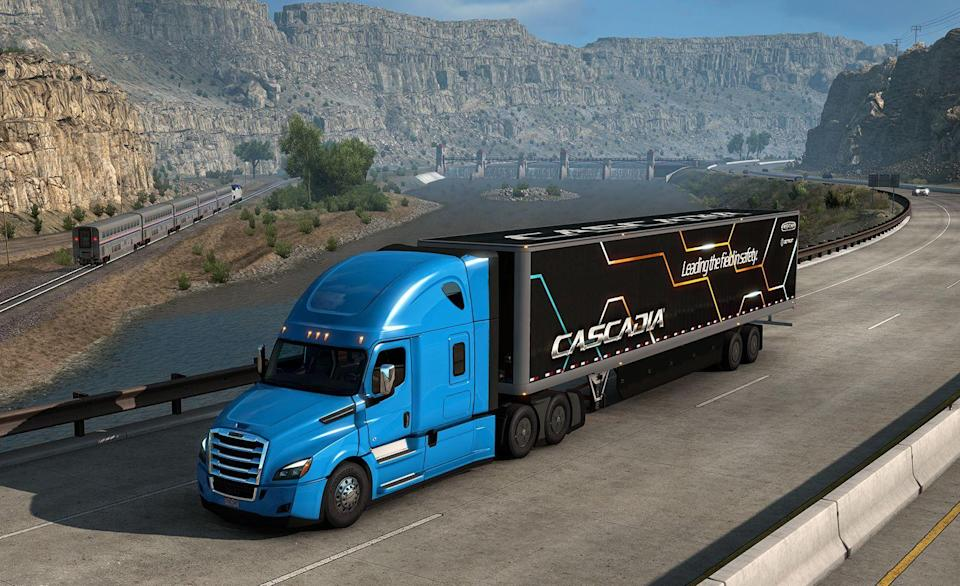 """<p>steampowered.com</p><p><strong>$19.99</strong></p><p><a href=""""https://store.steampowered.com/app/270880/American_Truck_Simulator/"""" rel=""""nofollow noopener"""" target=""""_blank"""" data-ylk=""""slk:BUY IT HERE"""" class=""""link rapid-noclick-resp"""">BUY IT HERE</a></p><p>They can't stay home, they're truck drivers! But now you can stay home and pretend to be a truck driver with <em>American Truck Simulator</em>. Your goal is to deliver the goods and make money, upgrade your trucks, buy new ones, and hire drivers. You know, you get to build the biggest and best trucking business out there. The game takes place in a world geographically similar to the western United States, and you visit cities like Las Vegas, San Diego, Phoenix, and Seattle. Under the current advisory against travel, <em>ATS</em> might be the best way to visit cities in the west.</p>"""