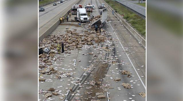 The pizza truck shut down the motorway for hours. Source: AP