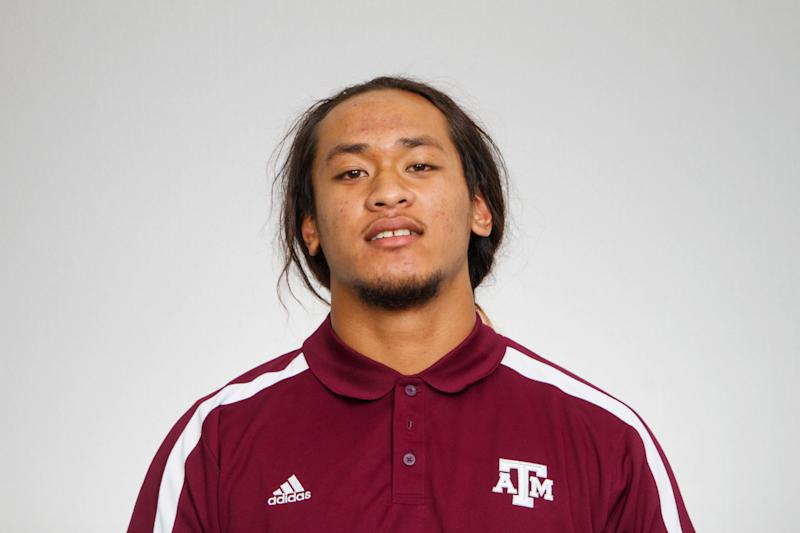 This Aug 22, 2012 photo provided by Texas A&M University shows Polo Manukainiu. Texas A&M officials say freshman NCAA college football defensive lineman Polo Manukainiu died in a rollover crash, Monday, July 29, 2013, in New Mexico during a trip home from Utah. New Mexico State Police say Gaius Vaenuku, an incoming member of the Utah football team, also died after the wreck. Manukainiu was a 19-year-old redshirt freshman. (AP Photo/Texas A&M University)