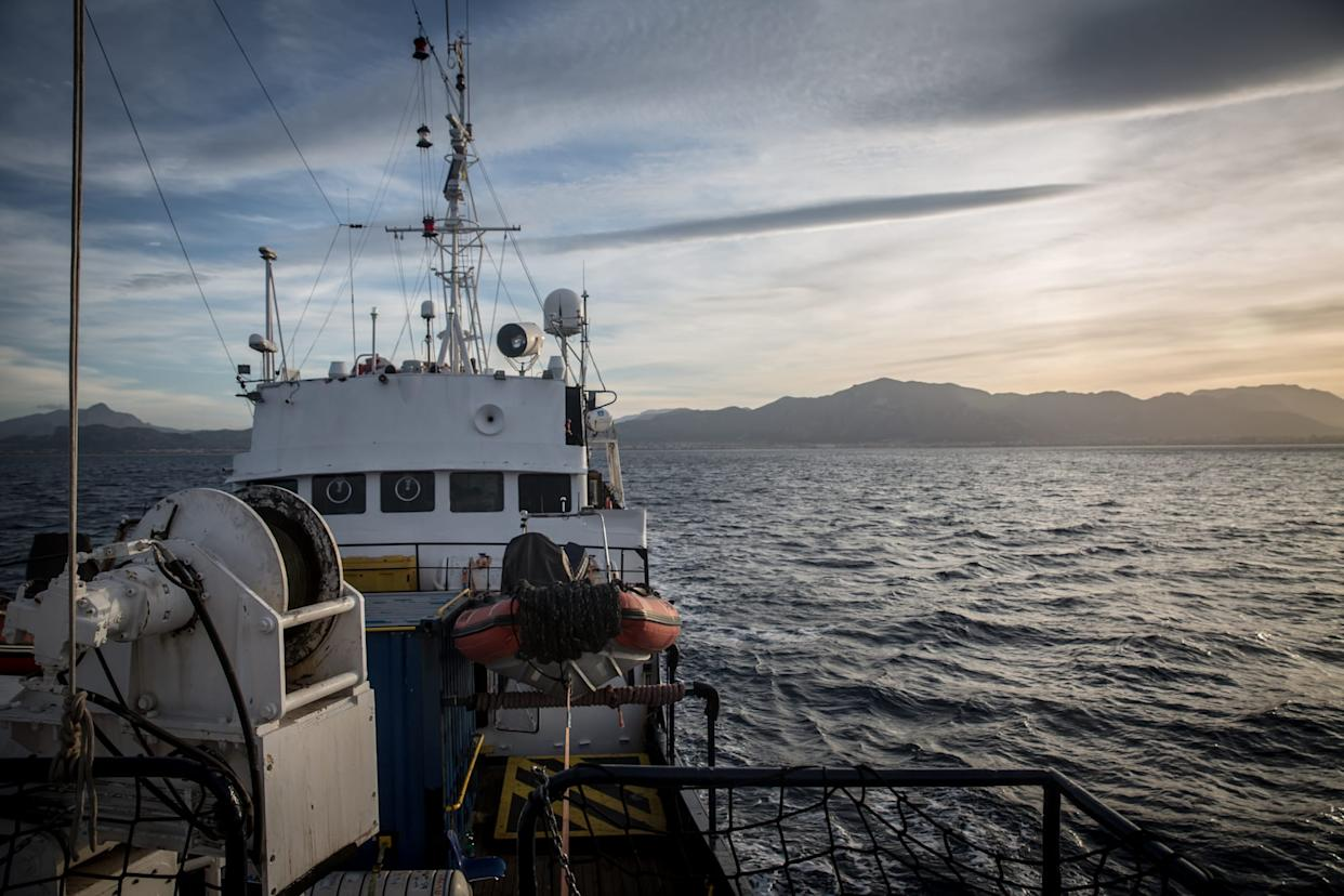 View of the Alan Kurdi rescue ship during the rescue...
