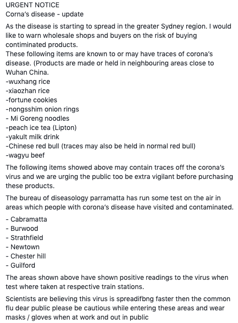 NSW Health issued a warning over this fake post about the coronavirus, which told people to avoid Mi Goreng noodles, Wagyu beef and Lipton peach ice tea.