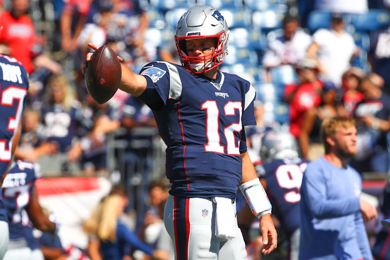 FOXBOROUGH, MA - SEPTEMBER 22: New England Patriots quarterback Tom Brady (12) warms up prior to the National Football League game between the New England Patriots and the New York Jets on September 22, 2019 at Gilette Stadium in Foxborough, MA. (Photo by Rich Graessle/Icon Sportswire via Getty Images)