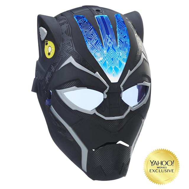 """<p>""""Imagine suiting up for battle as Black Panther with Vibranium-powered combat gear! This new mask, inspired by the movie, features a flip-down lens for two ways to play. Press the button on the side of the mask once for a pulsating light or twice for a fixed light effect."""" $19.99 (Photo: Hasbro) </p>"""