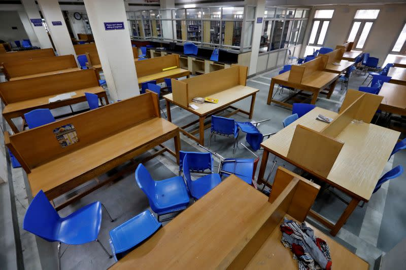 FILE PHOTO: A view of a partially damaged library of the Jamia Millia Islamia university is seen in New Delhi