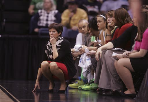 Notre Dame head coach Muffet McGraw watches her team during the first half a regional semi-final of the NCAA college basketball tournament Sunday March 31, 2013 in Norfolk, Va. Notre Dame won 93-63. (AP Photo/Jason Hirschfeld)