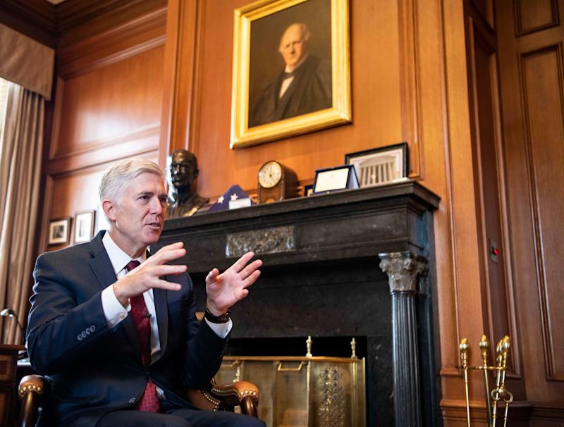 Supreme Court Justice Neil Gorsuch speaks in his office on Sept. 4, 2019, about his forthcoming book,
