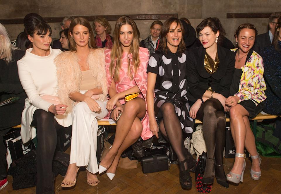 LONDON, ENGLAND - FEBRUARY 23: (L-R) Gizzi Erskine, Millie Mackintosh, Amber Le Bon, Yasmin Le Bon, Jasmine Guinness and Jaime Winstone attend at the GILES show during London Fashion Week Fall/Winter 2015/16 at Central Saint Martins on February 23, 2015 in London, England. (Photo by Samir Hussein/WireImage)