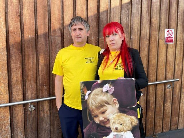 Melody's parents Nigel and Karina Driscoll outside Southwark Coroners Court