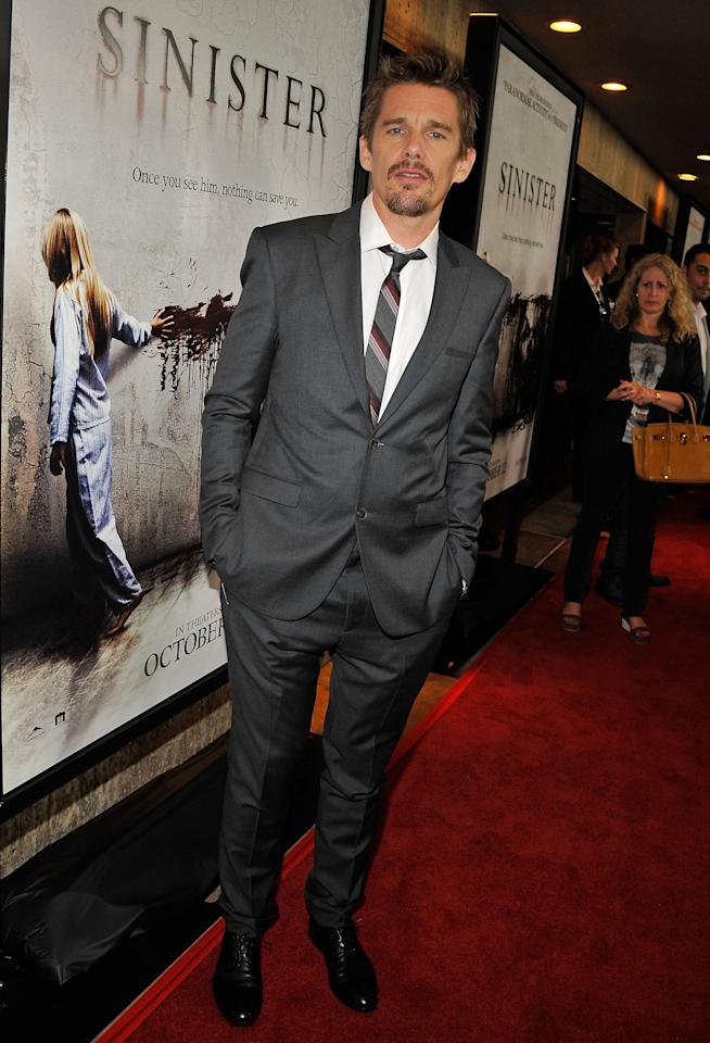 LOS ANGELES, CA - OCTOBER 01:  Actor Ethan Hawke arrives to the screening of Summit Entertainment's 'Sinister' at Landmark Theatres Regent on October 1, 2012 in Los Angeles, California.  (Photo by Angela Weiss/Getty Images)