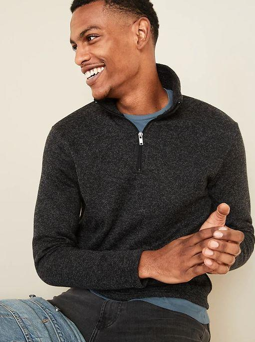 """This Sweater-Fleece 1/4-Zip Mock-Neck Sweatshirt for Men is available in sizes XS to XL. <a href=""""https://fave.co/36GyjVx"""" target=""""_blank"""" rel=""""noopener noreferrer"""">Get it on sale for 50% off (normally $40) at Old Navy</a>."""