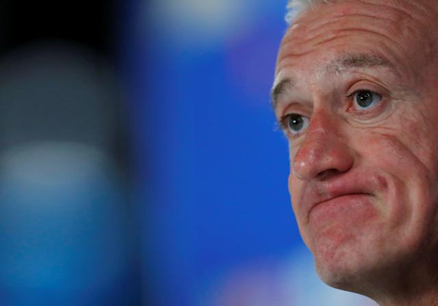 Soccer Football - World Cup - France Press Conference - Ekaterinburg Arena, Yekaterinburg, Russia - June 20, 2018 France coach Didier Deschamps during the press conference REUTERS/Andrew Couldridge